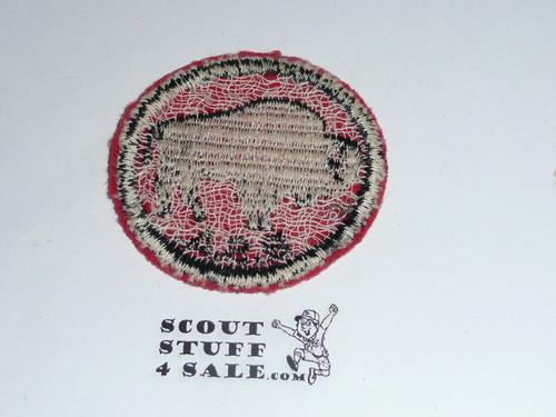 Bison Patrol Medallion, Felt w/BSA BLACK ring back, 1940-1955, used