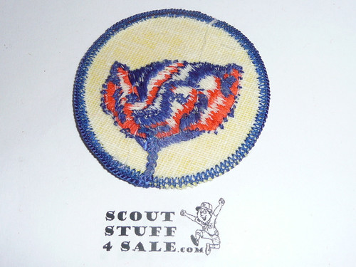 Badger Patrol Medallion, Yellow Twill with gauze back, 1972-1989, sewn