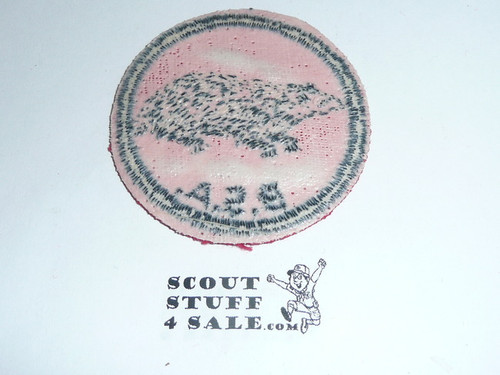 Badger Patrol Medallion, Red Twill with gum back, 1955-1971, Used