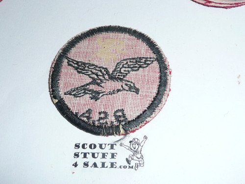 Seagull Patrol Medallion, Felt w/BSA & Solid Black Ring back, 1933-1939, used