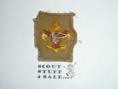 Tenderfoot Rank Patch - 1938-1942 - Tan Twill Type 5A, lite use with lots of material