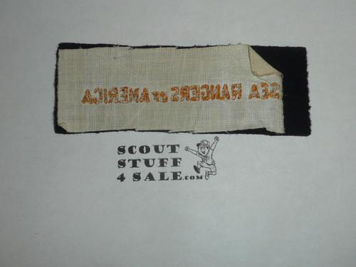 Program Strip - Sea Rangers of America, Navy Felt, unused, part of Boy Rangers of America