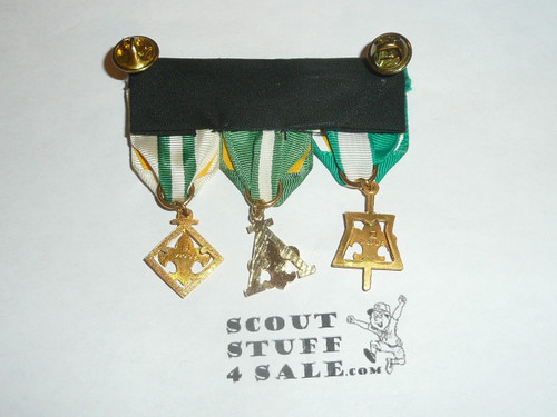 3 Adult leader training award medals on a strip for uniform wear, all have 1/20 gold content