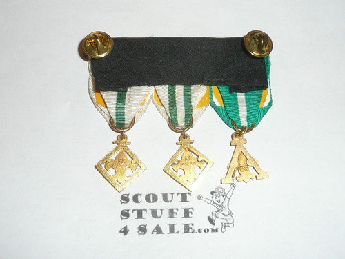 3 Adult leader training award medals on a strip for uniform wear, all have 1/20 gold content, #2