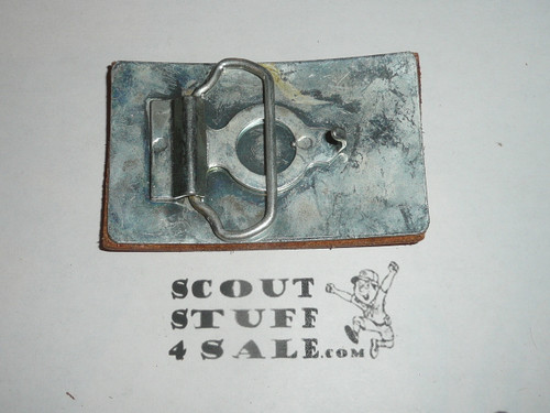 Leather tooled 1976 Area 3B, Boy Scout Belt Buckle