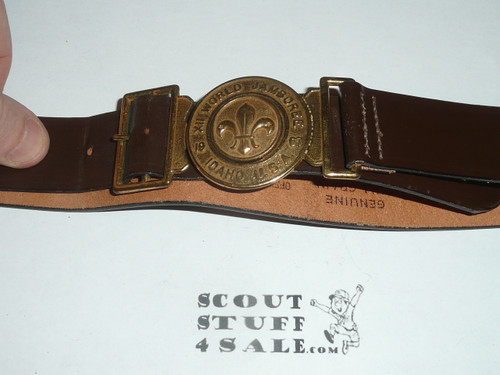 1967 Boy Scout World Jamboree Official Leather Belt with Brass Buckle, size 32, MINT condition