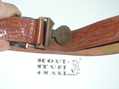 """1950's Official Boy Scout Tooled Leather Belt with brass buckle, 29"""" total length, lite use"""
