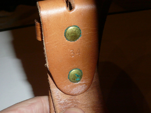 """1980's Official Boy Scout Tooled Leather Belt, 34"""" waist, some use"""