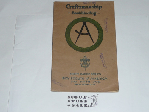 Bookbinding (Craftmanship) Merit Badge Pamphlet, Type 3 OVER Type 2, Tan Cover OVER White, 1925 Printing