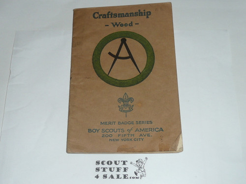 Craftmanship - Wood Merit Badge Pamphlet, Type 3 OVER Type 2, Tan Cover OVER White, 1925 Printing
