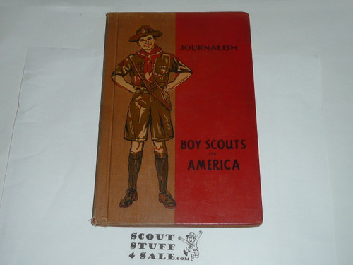 Journalism Merit Badge Library Bound Pamphlet, Type 4, Standing Scout Cover, 4-43 Printing