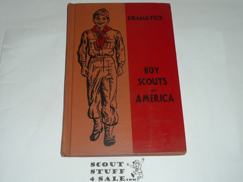 Dramatics Library Bound Merit Badge Pamphlet, Type 5, Red/Wht Cover, 5-52 Printing