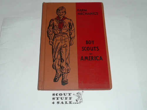 Farm Mechanics Library Bound Merit Badge Pamphlet, Type 5, Red/Wht Cover, 11-51 Printing