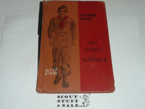 Leatherwork Library Bound Merit Badge Pamphlet, Type 5, Red/Wht Cover, 9-51 Printing, some spine damage