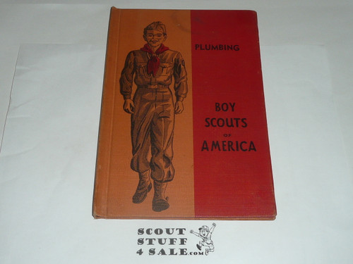 Plumbing Library Bound Merit Badge Pamphlet, Type 5, Red/Wht Cover, 10-49 Printing