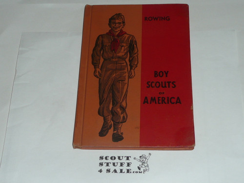 Rowing Library Bound Merit Badge Pamphlet, Type 5, Red/Wht Cover, 7-51 Printing