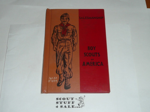 Salesmanship Library Bound Merit Badge Pamphlet, Type 5, Red/Wht Cover, 4-52 Printing