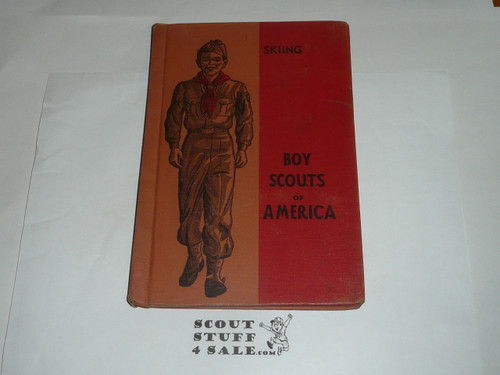 Skiing Library Bound Merit Badge Pamphlet, Type 5, Red/Wht Cover, 9-50 Printing