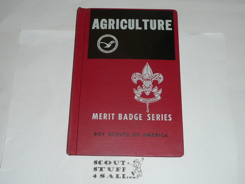 Agriculture Library Bound Merit Badge Pamphlet, Type 6, Picture Top Red Bottom Cover, 11-61 Printing