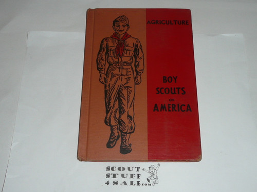 Agriculture Library Bound Merit Badge Pamphlet, Type 6, Picture Top Red Bottom Cover, 9-52 Printing