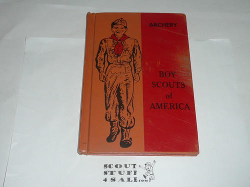 Archery Library Bound Merit Badge Pamphlet, Type 6, Picture Top Red Bottom Cover, 10-53 Printing