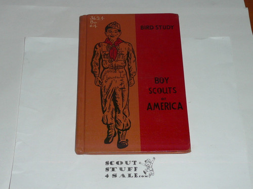 Bird Study Library Bound Merit Badge Pamphlet, Type 6, Picture Top Red Bottom Cover, 10-57 Printing