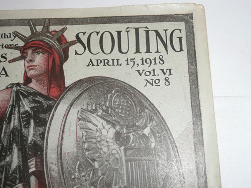 1918 Boy Scout Annual Report to Congress, 8th, April 15, 1918 Scouting Magazine , MINT