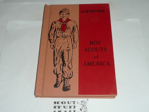 Surveying Library Bound Merit Badge Pamphlet, Type 6, Picture Top Red Bottom Cover, 5-64 Printing