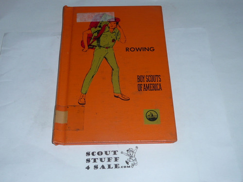 Rowing Library Bound Merit Badge Pamphlet, Type 8, Green Band Cover, 3-72 Printing