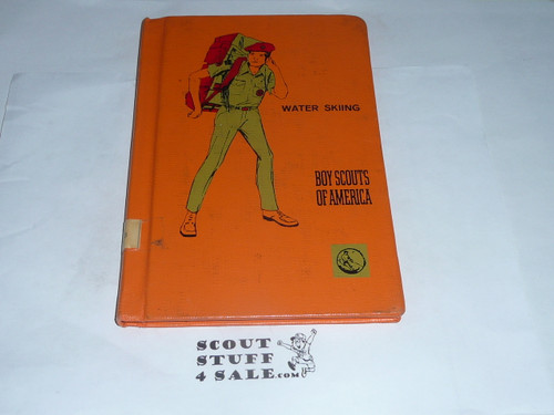 Water Skiing Library Bound Merit Badge Pamphlet, Type 8, Green Band Cover, 2-73 Printing
