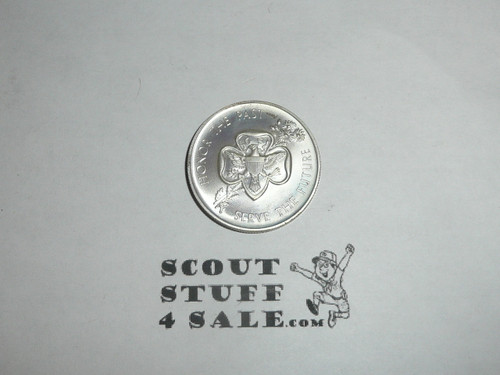 1962 Girl Scout 50th Anniversary Honor the Past Serve the Future Coin, Silver color, with silver content