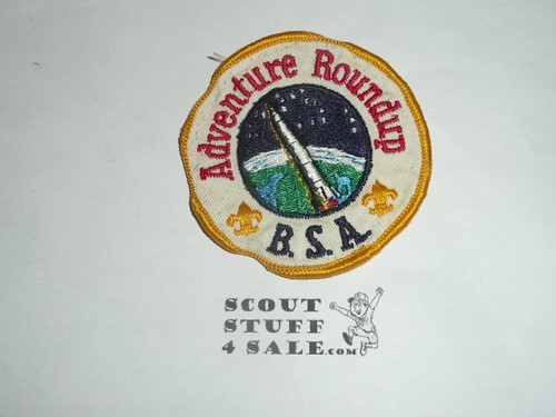 Round-up Patch, Generic BSA issue, wht twill, gold r/e bdr, Adventure, used