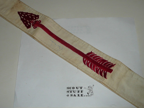 1960's Embroidered On Twill Ordeal Order of the Arrow Sash, Medium Weight Twill, Double Row Edged Stitching, Used Condition, Signed by Goodman