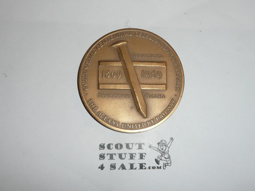 Large Bronze Medallion commemorating the 100th Anniversary of the completion of the Transcontinential Railroad