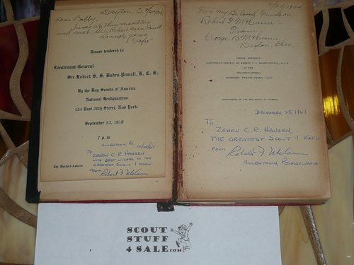 1910 Boy Scout Handbook, RARE WALDORF ASTORIA BADEN POWELL DINNER HANDBOOK, Red Leather Cover, Wear to Cover and Spine, inscriptions inside, was owned by Zenon Hanson