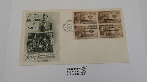 1950 National Jamboree Envelope with First day of issue cancellation and 4 BSA 3 cent stamps, Obscure design