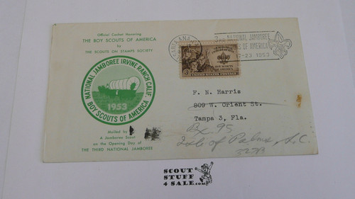 1953 National Jamboree SOSSI Envelope with Jamboree cancellation and  BSA 3 cent stamp