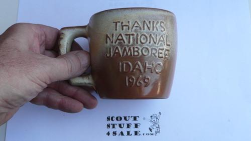 1969 National Jamboree Frankoma Ceramic Coffee Mug, Tan/Brown