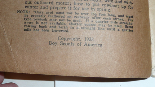 Rowing Merit Badge Pamphlet, Type 3, Tan Cover, 1933 Printing