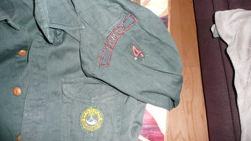 1950's Explorer Uniform Shirt with Ranger patch, Universal Expl emblem and ARMOR grn/brn Community Strip