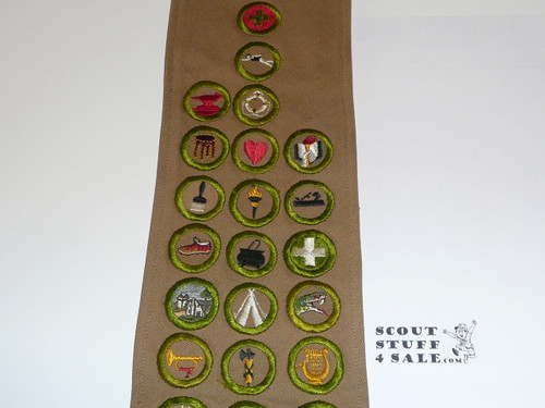 1930's Boy Scout Merit Badge Sash with 31 square merit badges and early Rank Patches, #FB2