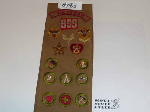 1930's Boy Scout Merit Badge Sash with 23 square merit badges, early Rank Patches, felt unit number and WESTERN Kh/Red, #FB3