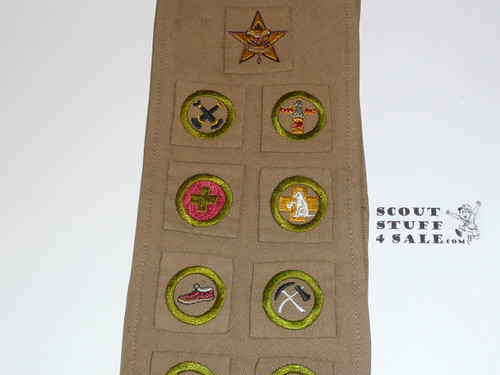 1930's Boy Scout Merit Badge Sash with 13 square merit badges and early Star Rank, #FB6