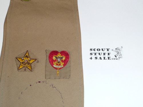 1930's Boy Scout Merit Badge Sash with 21 square merit badges and 2 early rank patches, #FB8