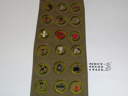 1940's Boy Scout Merit Badge Sash with 12 wide crimped & 19 crimped merit badges, #FB9
