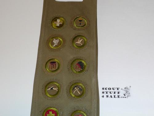 1940's Boy Scout Merit Badge Sash with 14 wide crimped merit badges, #FB10