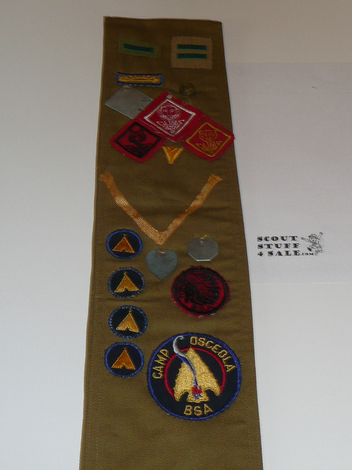 1940's Boy Scout Merit Badge Sash with 24  (crimped, fine twill and tan cr.) merit badges, fine twill star and life, Eagle patch, other ranks and tons of Kansas City Event/camp, #FB16