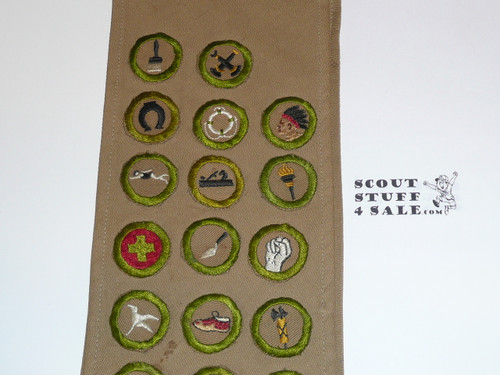 1940's Boy Scout Merit Badge Sash with 22 crimped merit badges and a Star Rank Patch, #FB22