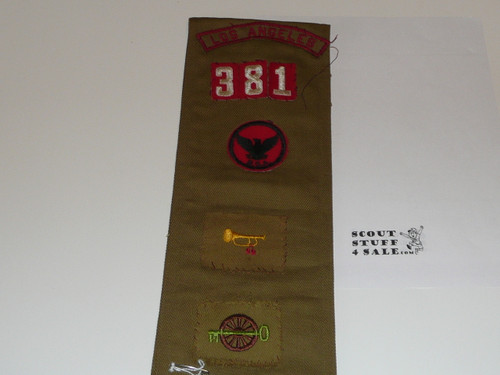 1940's Boy Scout Merit Badge Sash with 4 crimped merit badges, Sateen LAAC Camp Patches, Rank/Position Patches and a Los Angeles Kh/Red Strip, #FB25