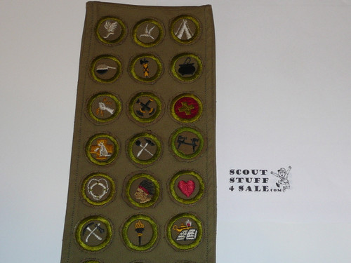 1940's Boy Scout Merit Badge Sash with 26 crimped merit badges and early Rank Patches, #FB26